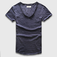 Zecmos Deep V Scoop Neck T-Shirt Men Basic Top Tees Men Casual Male Slim Fit T Shirt Luxury Curved Hem Navy Tee Muscle