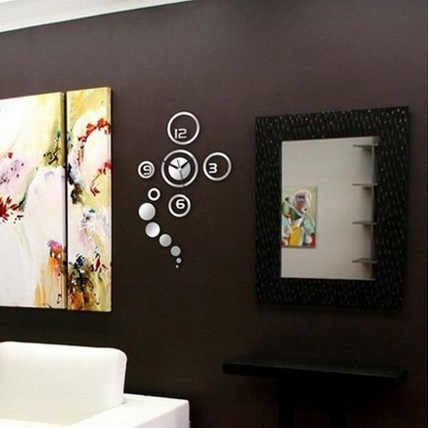 nueva creativo d etiqueta engomada casera decoracin moderna espejo de la sala de diy reloj de pared de plata unid venta cali