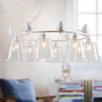 DBF Industrial Vintage Modern Home Decoration 3 6 8 Head Resin Bird LED Light Dining