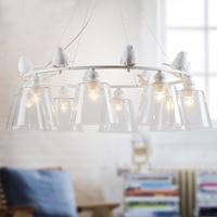 [DBF]Industrial Vintage Modern Home Decoration 3/6/8 Head Resin Bird LED Light Dining Room Pendant Light Glass Iron Bar Light