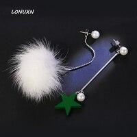 Fashion Real Ball Fox Fur wooden stars green Drop long Party Tassel Earrings Jewelry Simple Mink Sweet pearl girlfriend Gift