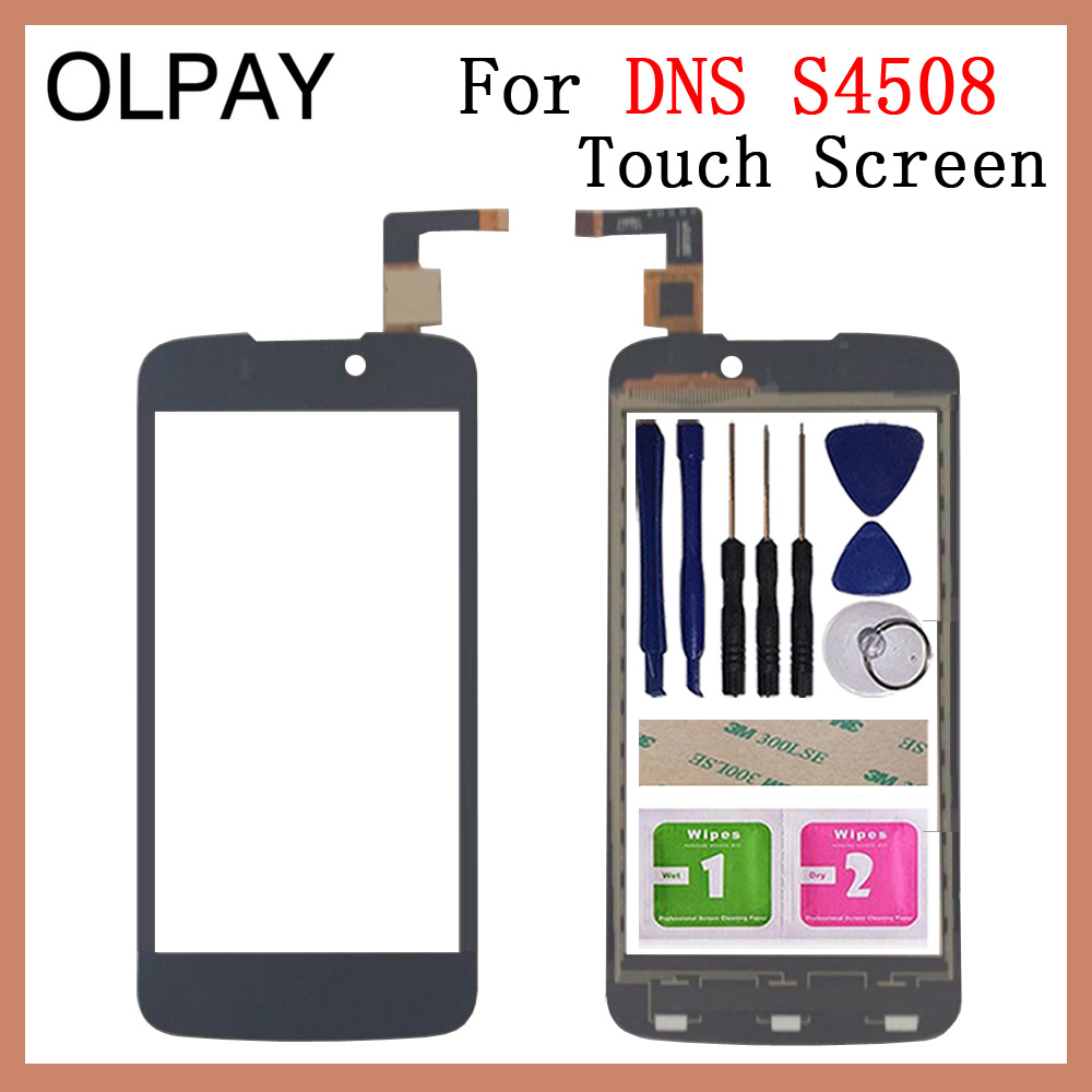 OLPAY 4.5'' For DNS S4508 Touch Screen Digitizer Panel Repair Parts Touchscreen Front Glass Lens Sensor Free Adhesive+Wipes