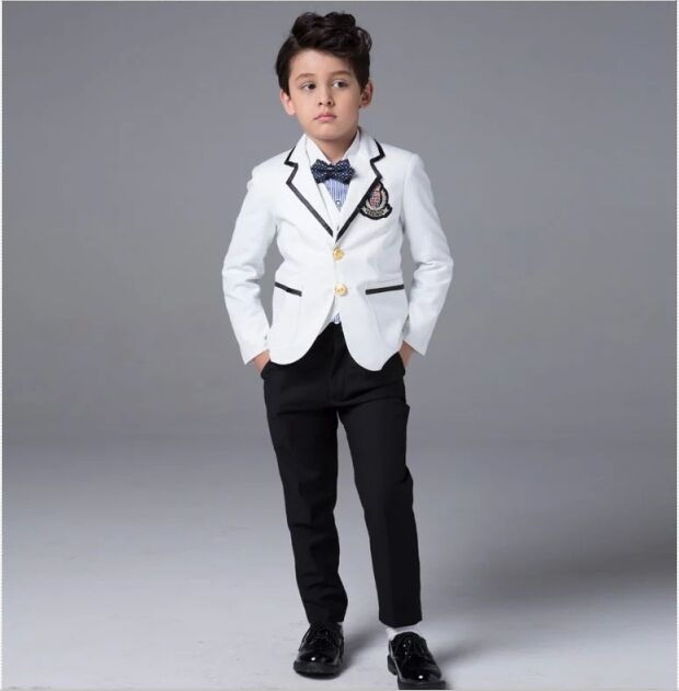 White Jacket and Black Pant Wedding Suits for Boys BM 0201 Formal ...