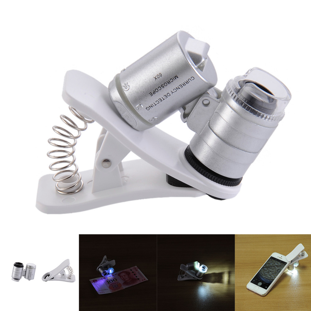 60X Clip-On 9882W phone Microscope Magnifier with LED / UV Lights for Universal SmartPhones iPhone Samsung HTC Magnifier