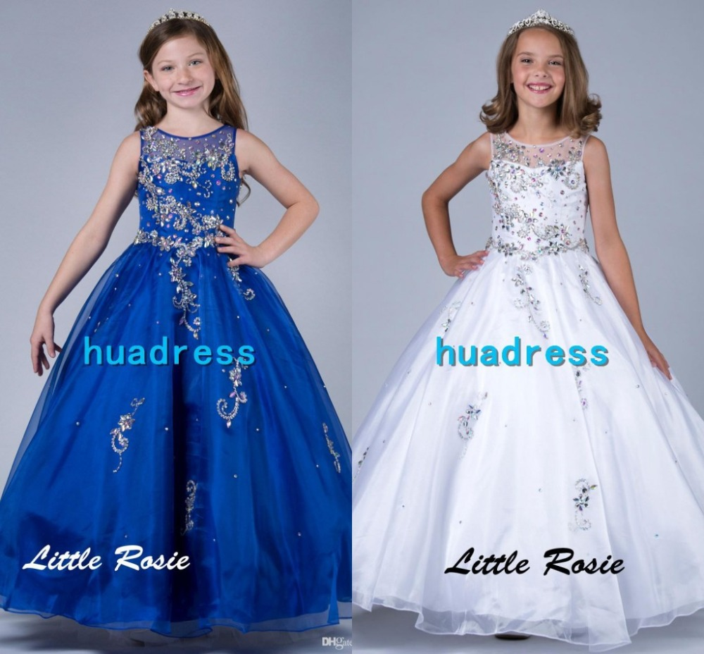 Luxury Bling Floor Length Ball Gown Communion Little Flower Girl ...