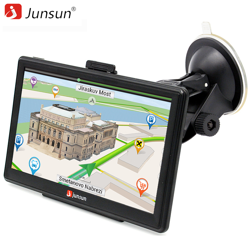Junsun 7 inch HD Car GPS Navigation Capacitive screen FM 8GB Vehicle Truck GPS Car navigator Europe Sat nav Lifetime Map beling g710a car gps navigation with av in 7 in touch screen wince 6 0 8gb vehicle navigator fm sat map mp4 sat nav automobiles
