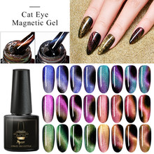 Mtssii 7D Chameleon Magnetic Gel Nail Polish Starry Sky Jade Effect Cat Eye Gel Soak Off UV Laser Gel Varnish Black Base Needed(China)