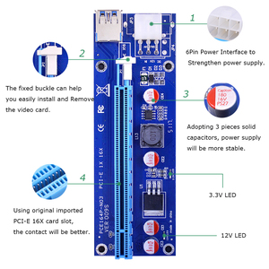Image 3 - CHIPAL 10PCS VER009S PCI E Riser Card PCIE 1X to 16X Extender with LED Indicator + 0.6M USB 3.0 Cable / 6Pin Power Cord