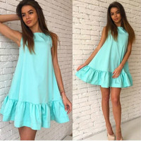 2017 Solid Color Fashion Ruffles Summer Dress Women Sleeveless O-Neck Casual Loose Dresses Beach Sundress Plus Size