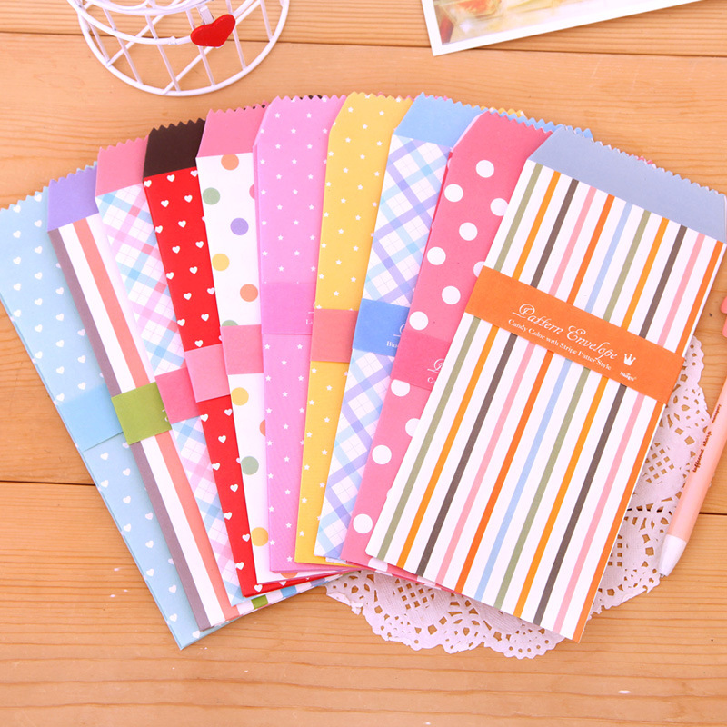 Candy Color Dot Stripe Creative Paper Envelope Love Letter Cards Cash Blessing Kawaii Paper Pocket Stationery Gift 5pcs/lot