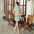 New Arrival Chinese Ladies Real Silk Cheongsam Mandarin Collar Mini Qipao Elegant Floral Evening Dress S M L XL XXL Z0039