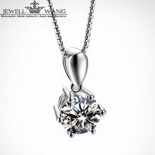 Jewellwang 18K White Gold Pendant Moissanites for Women 0.5ct Forever Classic Necklace Shiny Luxury Girl Gift Certified Jk/vvs1