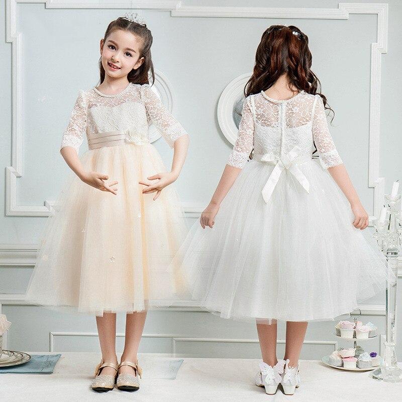 Princess Skirt girl Dress Flower Girl Wedding Dress Autumn New children's Piano Show host Dress