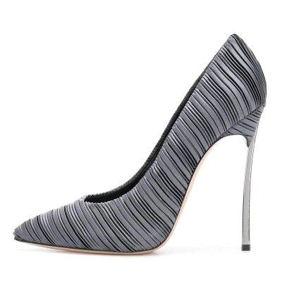 Satin Leather Women Pointed Toe Slip On Shallow Pumps Summer Autumn Fashion 10cm Metal Heel Dress Party Shoes Free Shipping satin slip sleep dress