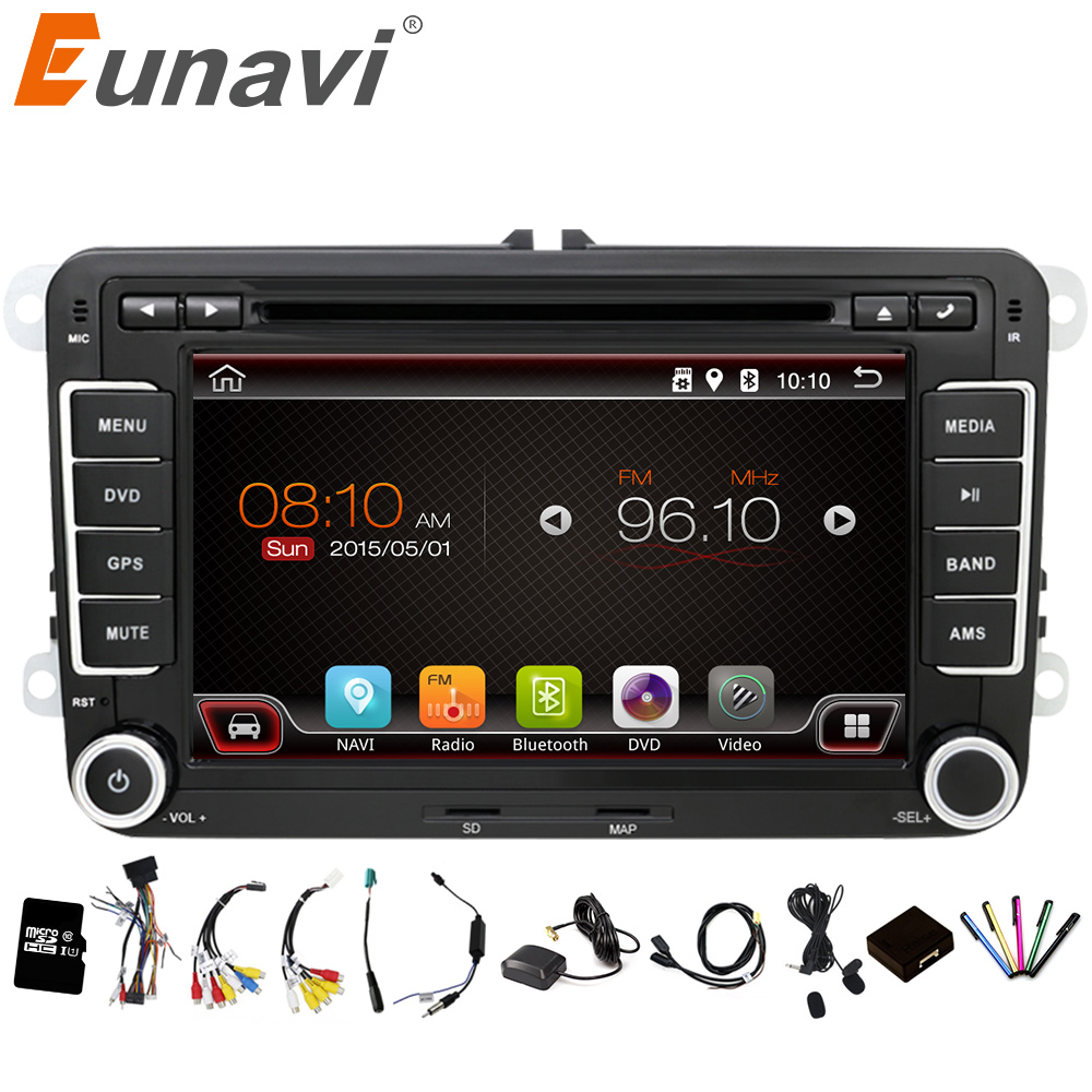 Eunavi 2 Din Android 6 0 Car Audio Car DVD Player GPS Radio For VW GOLF