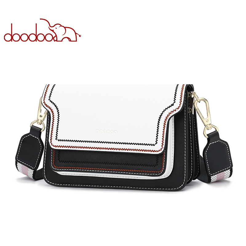 DOODOO Brand Women Bag Female Shoulder Crossbody Bags Artificial Leather Tote Wave Texture Lines 2018 Wide Strap Messenger Bags heart shaped crossbody bags for women heart pattern flap women messenger bag brand wide shoulder strap tote handbags chic