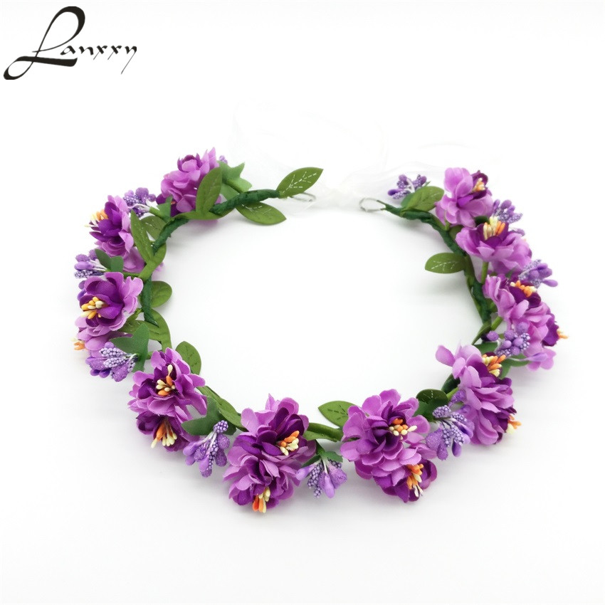 Lanxxy Adjustable Headbands Girls Bridal Wedding Hair Accessories for Women Flowers Wreath Crowns Fashion Hairwear Head