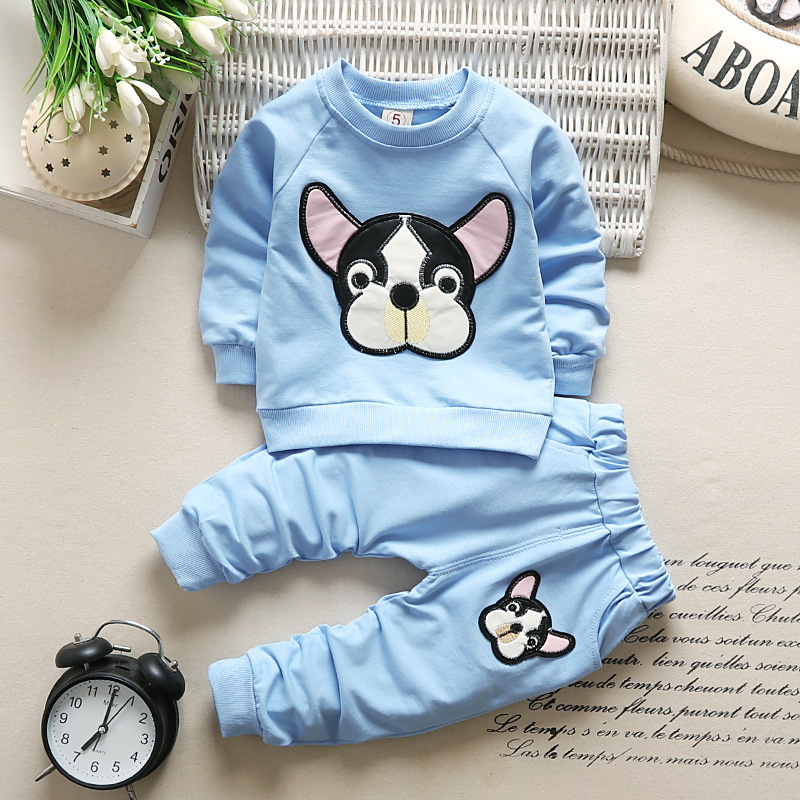 Baby Boy Clothes Cartoon Cotton Dog Long Sleeved T-shirt Tops+Pants Children Infant Clothing Kids Bebes Jogging Newborn Suit