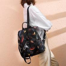 Leaf Print Travel Backpacks Casual Women Anti-theft Shoulder School Bags(China)