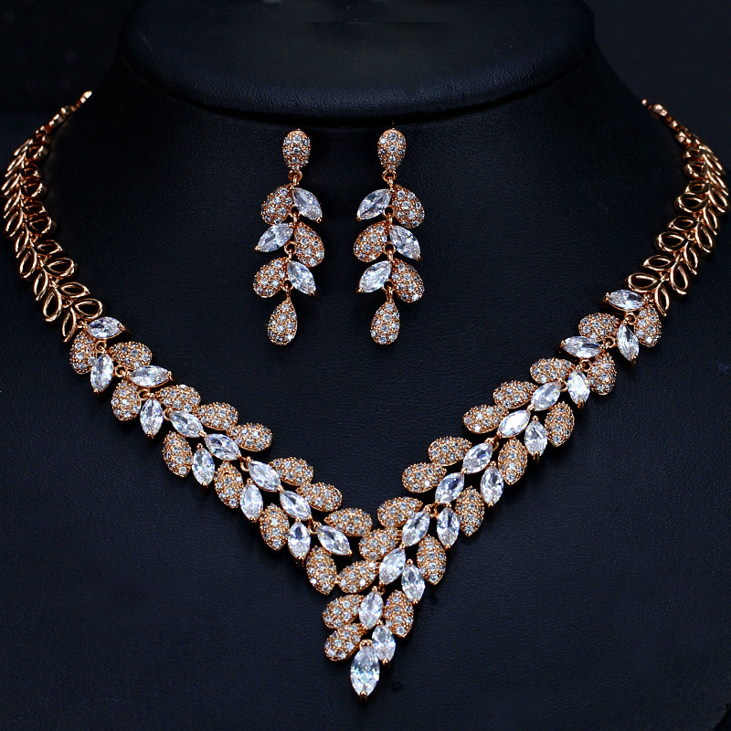2018 New Classic Luxury Teardrop-shaped AAA+Zircon Stone Necklace And Earrings Jewelry Sets For Women Elegant Party Gifts elegant faux pearl crystal teardrop necklace and earrings