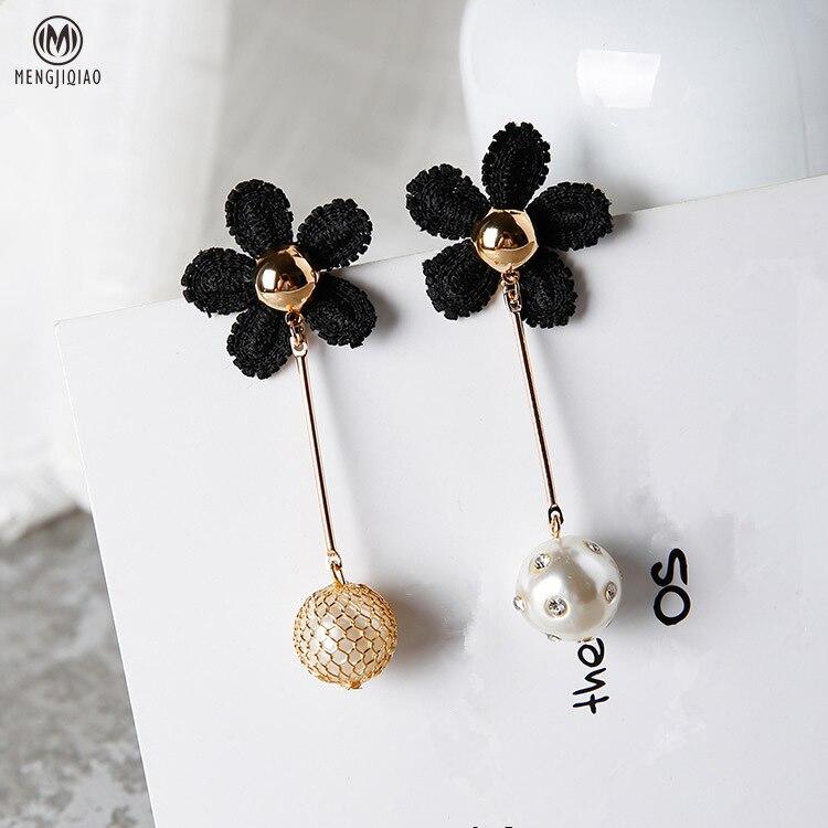 2017 Korean Fashion Sweety Cloth Flower Earrings Asymmetric Simulated Pearl Beads Pendant Charm Women Jewelry Brincos
