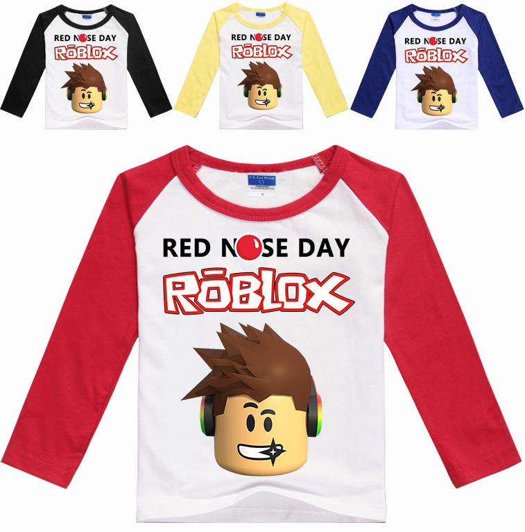 YLS 2-16Years Funny T Shirt Roblox Girls Long Sleeve Tops Red Nose Day T-shirt for Teenagers Clothes Nova Manche Longue Garcon
