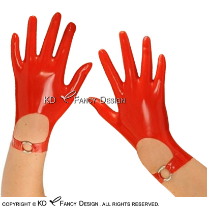 Red Sexy Short Latex Gloves With Rings Decoration Rubber Mittens Rubber Gloves ST-0054
