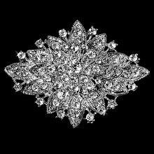 Dark Silver Plated Clear Rhinestone Crystal Diamante Large Flower Vintage Bouquet Brooch