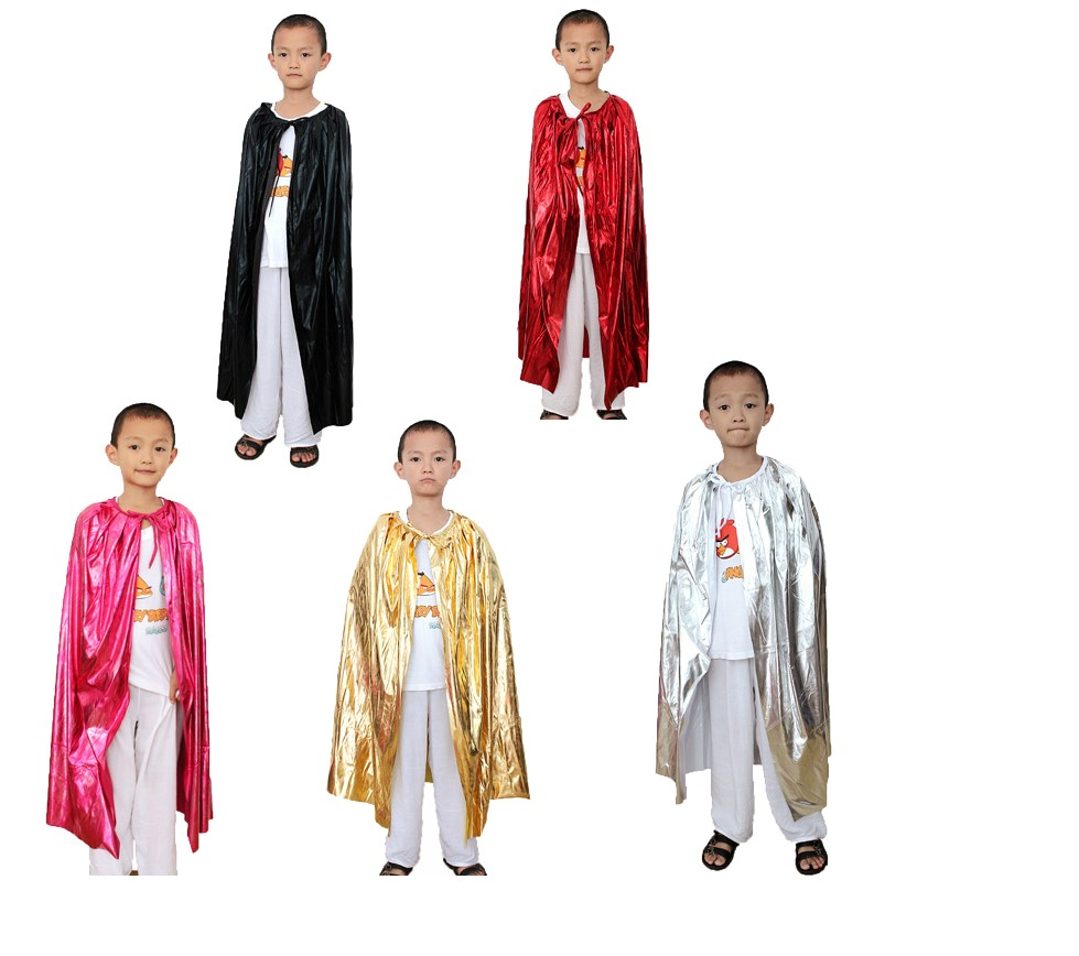 kid children red black gold silver flashing halloween party Christmas cape cloak 90cm length