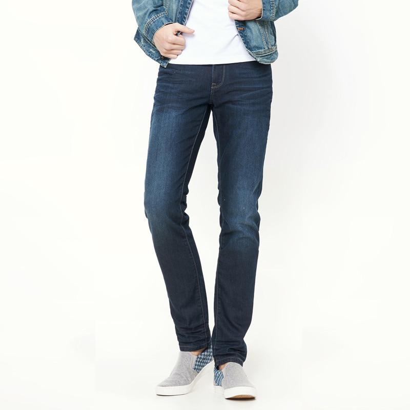 Mens Quality Winter Fleece Stretch Denim Straight Thicken inside Denim Jeans Warm Fleece Jeans