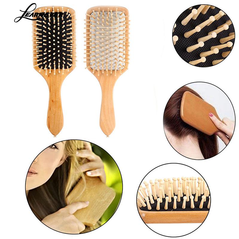 Image 2 - 1 Comb Hair Care Brush Massage Wooden Spa Massage Comb 2 Color Antistatic Hair Comb Massage Head Promote Blood Circulation X0585-in Combs from Beauty & Health