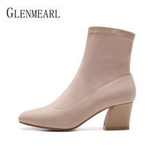Women Boots Winter Shoes High Heels Square Toes Ankle Boots Slip On Stretch Fabric Casual Shoes Woman Thick Heels Plus Size DE