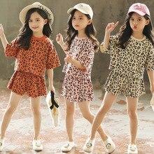 De moda de verano de Niñas Ropa de estampado de leopardo coreano Tops +  Pantalones cortos 2 piezas boutique trajes niños conjunt. 975d8163fe3d