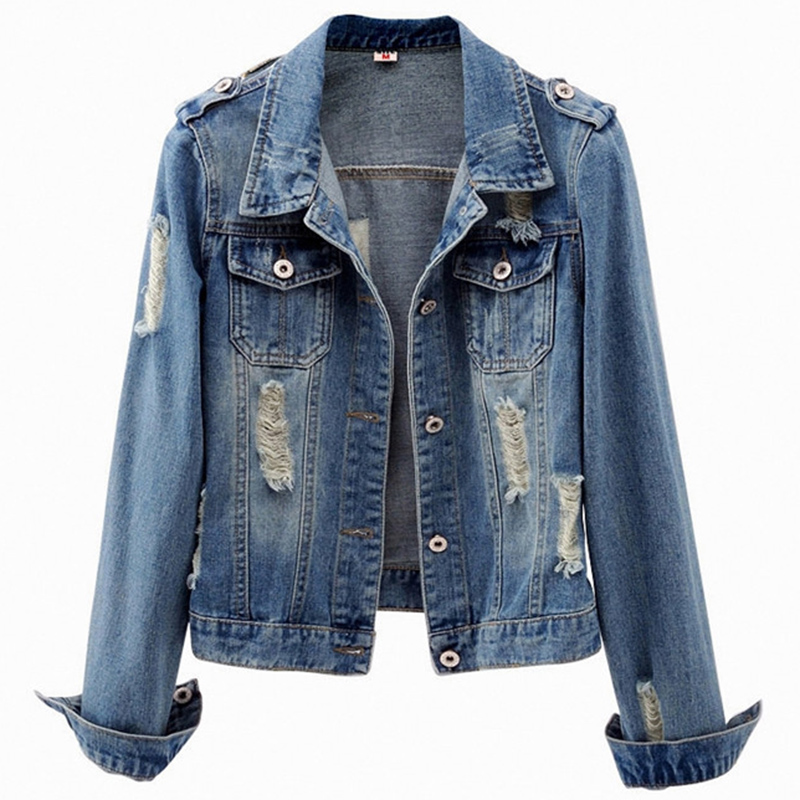 Denim   Jacket   Women's Short Korean New Spring Autumn Plus size Cardigan   Basic     Jackets   Wild Long-sleeved Jeans Coat Cool 6XL F171