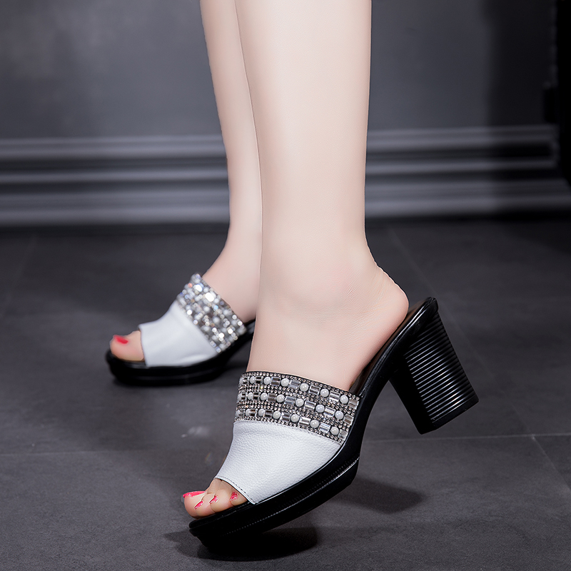 Leather Slippers Female Summer Platform High-heeled Sandals And Slippers New Fashion Slides Outdoor Large Size 40 Women Shoes 3