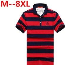 Big size 9XL 8XL 7XL 6XL 5XL 4XL Men Classic Striped Polo Shirt Cotton Short Sleeve NEW Arrived 2016 summer Plus size