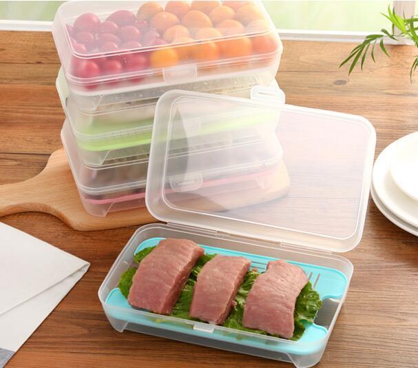 2pcs Lednice Skladovací krabice Ryby Mořské plody Box Lednice Organizér Skladování potravin Kontejner pro uchování krabice Kuchyňské nádoby pro skladování