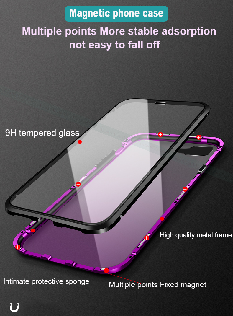 Magnetic clear  tempered glass Metal phone cover case (3)