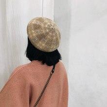 2019 Wool Winter Beret Hats Women Caps Plaid Warm Hat Girls Thicken Cake Cap Buds Female