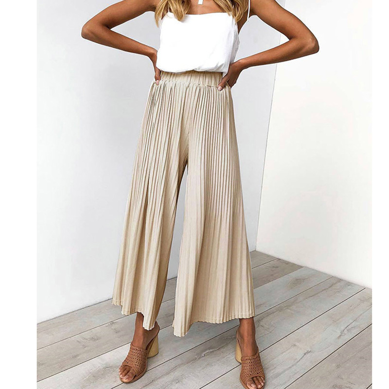 Casual Pleated   Wide     Leg     Pants   Female Spring Summer Solid Color Palazzo   Pant   Women Fashion Korean High Waist Loose Trousers