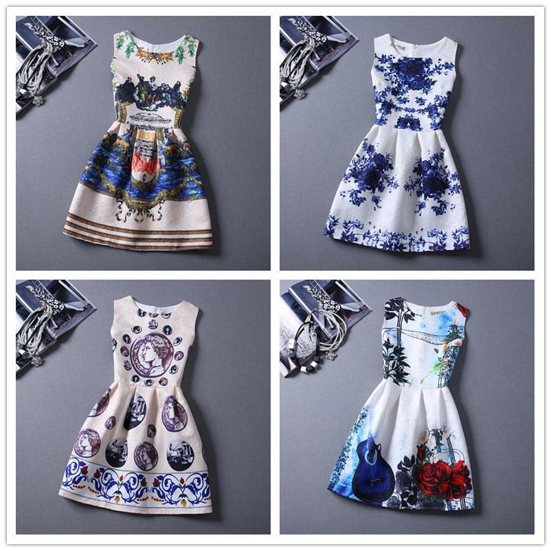 151949bb964be 2018 Yeni 16-19Y yaz kız giyim moda avrupa tarzı kızlar kızlar için  elbiseler Retro baskı desen kolsuz elbise