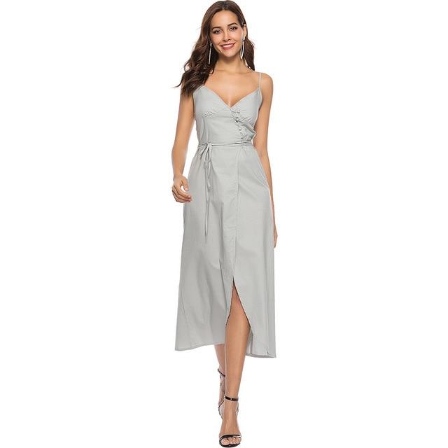 2018 новые летние Хлопковое платье длинный ремешок глубокий v-образный вырез горловины платье на бретелях
