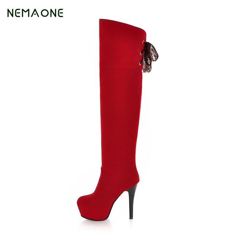 NEMAONE 2017 Wonderheel New extreme high heel heel thigh high boot sexy boots patent fashion platform boots
