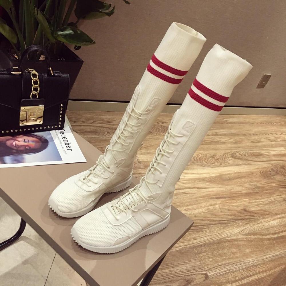 Chaussettes Femmes Stretch Chaussures top Beige De Coréenne Haute Long Version 2018 Nouveau Femelle Casual Tube Bottes noir rBshQdxtCo