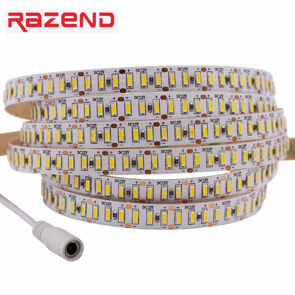 Ultra Bright SMD 3014 LED Strip With DC Connector Plug 204LED/m DC12V Cold Warm White Waterproof Flexible LED Tape Light 5m