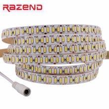 Tira led ultra brilhante, smd 3014 com plug conector dc 204led/m dc12v, branco quente e frio, à prova d' água, flexível, led fita de luz 5m