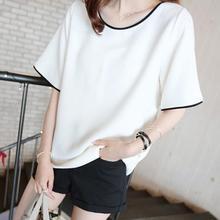 Yfashion Summer Cotton Black White T-shirt Women New Girls Short Sleeve Solid Large Size Fashion Tee T Shirts Undershirt Female