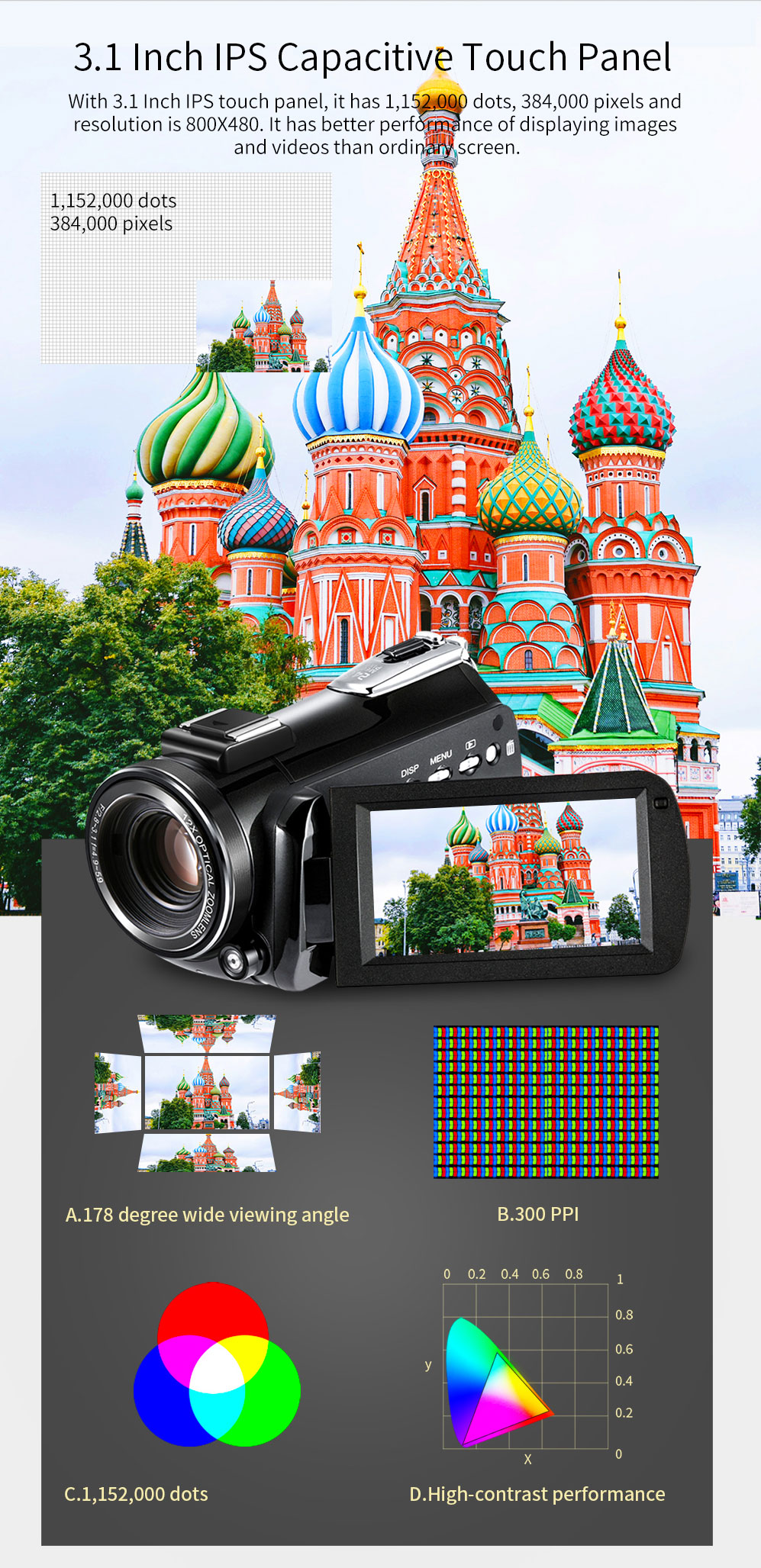 4k WIFI Digital Video Camcorder with 3.0'' Touch Display/12 x Optical Zoom Professional Home Use Digital Camcorder 3