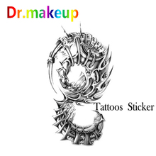 Hot Fashion Tattoo Sticker Unisex Women Men Waterproof Temporary Crown Grim Reaper Dark Dragon Tattoo Body Art Fake Tatoo Chain