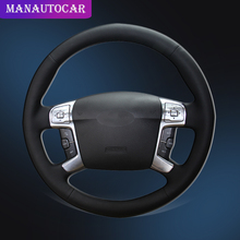 Car Braid On The Steering Wheel Cover for Ford Mondeo Mk4 2007-2012 S-Max 2008 Interior Car-styling Auto Leather Steering Covers steering wheel cover for ford mondeo mk4 2007 2012 s max 2008 ford focus 3 2015 2018 kuga 2016 2018 custom made steering braid